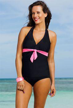 f1f7fe0896c Shore Club Spicy Plus Size Tie Front Halter Tankini Swimsuits 2014