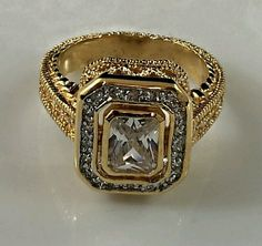 Cocktail fashion ring cubic zirconia size 9 plus size 144 #Cocktail
