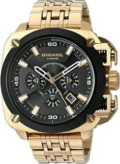 Amazon.com: Diesel Men's 'Bamf' Quartz Stainless Steel Watch, Color:Gold-Toned (Model: DZ7378): Watches Stainless Steel Watch, Stainless Steel Bracelet, Diesel Watch, Online Watch Store, Cool Watches, Quartz Watch, Fashion Watches, Gold Watch, Mens Fashion