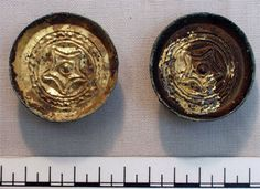 Pair of gilt copper alloy saucer brooches (AN1920.260) Grave 11 Frilford