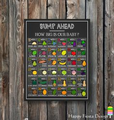 PRINTABLE How Big Is Our Baby Chalkboard-Baby Size Week By