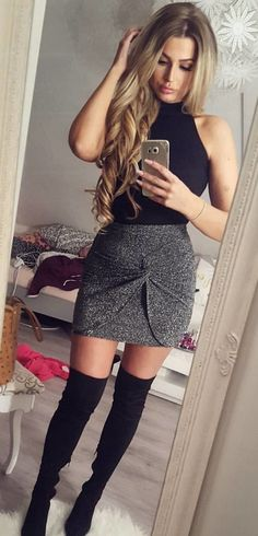 #winter #outfits black and gray sleeveless dress with black thigh-high boots outfit