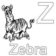 Ausmalbild Buchstaben lernen: Kostenlose Malvorlage: Z wie Zebra kostenlos ausdrucken