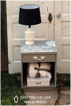 DIY nightstand- I want to do this in the spare bedroom, going to use the decals instead of stencil :-)