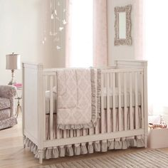 Paris Script Crib Bedding | Pink and Gray Baby Girl Crib Bedding Featuring French Damask | Carousel Designs 500x500 image