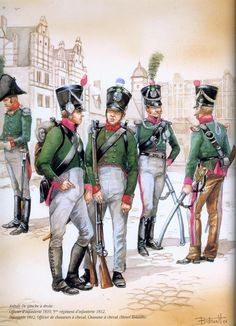 NAP- Confederation of the Rhine (France): Anhalt; L to R Infantry Officer 1810 Soldier Infantry Regt Soldier Infantry Officer Chasseurs a Cheval & Trooper Chasseurs a Cheval. Military Art, Military History, Army Costume, Age Of Empires, French Army, Napoleonic Wars, American Civil War, Modern Warfare, Reno