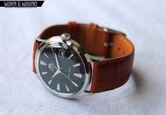ORIENT Bambino with Crown & Buckle 22mm Honey Brown Calf strap