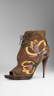 Burberry/  Peep-toe ankle boots,  hand-painted suede.