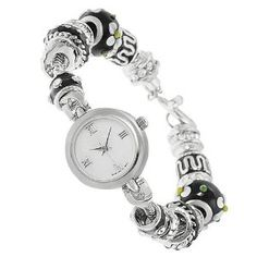 Amazon.com: GP Designs Women's Rhinestone-accented Beaded Toggle Watch: GP Designs: Jewelry