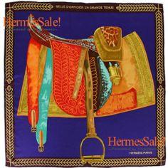 Hermes Selle d'Officier en Grand Tenue Navy Silk Twill Scarf 90cm
