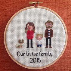 Custom Cross Stitch Family Portrait by NoBasicStitches on Etsy
