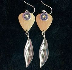 Gold Metallic Silver Leaf Guitar pick earrings with Crystal Sale $23 - Purchase on our Website