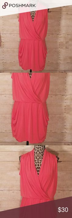 """Rachel Roy 24 Hour Swingy Wrap Dress Coral sz S Made of Slinky material, with a wrap style top, and pockets on this Rachel by Rachel Roy """"24 Hour"""" dress. Excellent condition, no flaws seen. RACHEL Rachel Roy Dresses Mini"""