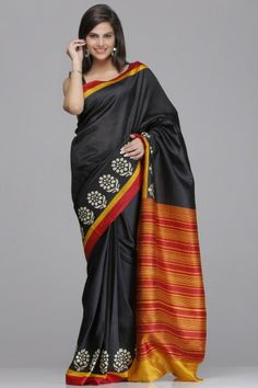 Black Raw Silk Saree With Floral Motifs And A Mustard And Maroon Striped Border