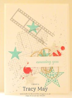 How many retiring Stampin' Up! stamp sets can you get on one card?  Express Yourself, Filmstrip, Off the Grid, Simply Stars + Gorgeous Grunge,