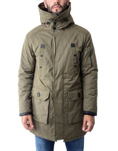 This long length parka from Replay with multi pocket design and black quilted lining is a must have winter coat. The khaki parka with hood has a zip up front that is concealed by a press stud placket, a zipped pocket on the left sleeve with black and white brand tab as well as ribbed black knit cuffs.