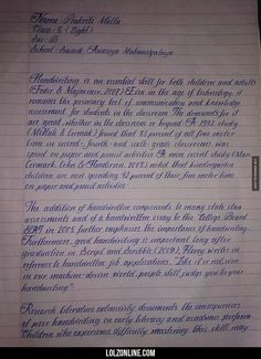 An 8th Grade Girl's Handwriting.