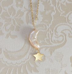 Star moon pearl necklace custom initial gold filled by byVellamo