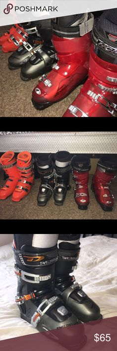 GREAT DEAL FOR 2 PAIRS OF SKI BOOTS Mostly Orange/Black/Gray Size: 29.5  Men's: 9-10.5   Mostly Black/Gray/Orange  Size: 27.5 Women's: 9.5-10.5 SOLD  Mostly Red/Black  Size: 28.0  Women's: 8-9  *All in great condition!* *Need SNOWBOARDING boots, therefore selling* *Willing to trade for snowboarding boots* Shoes Winter & Rain Boots