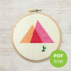 New to TreefortFiveShop on Etsy: Painted Desert - Minimal Mountains - Modern Geometric Cross Stitch - Embroidery PDF Pattern #001 (3.50 USD)