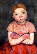 Seated girl with a crossed arms 1903, Paula Modersohn-Becker (1876-1907), member of the artists colony in Worpswede, Germany