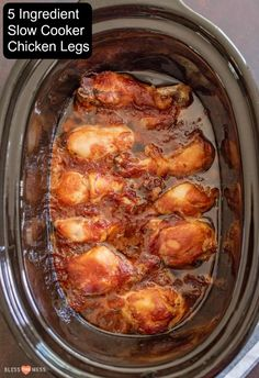 Flavor-packed slow cooker chicken legs take 10 minutes to put together, are easy to make, and only have 5 ingredients you already have in your pantry! recipes chicken recipes crockpot recipes easy recipes for dinner recipes healthy food recipes Slow Cooker Huhn, Crock Pot Slow Cooker, Slow Cooker Recipes, Cooking Recipes, Fast Recipes, Dishes Recipes, 5 Ingredient Crockpot Recipes, Recipies, Crock Pots