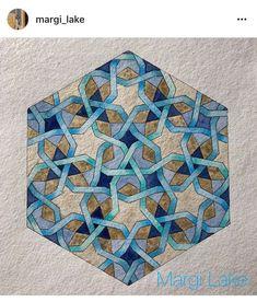 Interlaced isometric geometric pattern stars on a hexagram) on khadi paper. Motifs Islamiques, Islamic Motifs, Islamic Art Pattern, Arabic Pattern, Geometry Pattern, Geometry Art, Pattern Art, Gothic Pattern, Circle Drawing