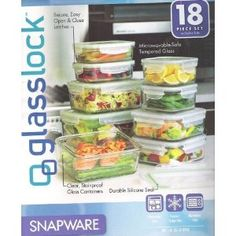 Snapware 18pc Glasslock Tempered Glass Storage Containers 18piece Set with Lids