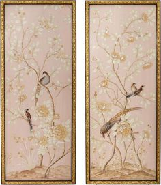 Set of two blush panels with a gilded border