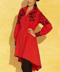 This Red & Black Floral Embroidered Hi-Low Dress by Roja is perfect! #zulilyfinds