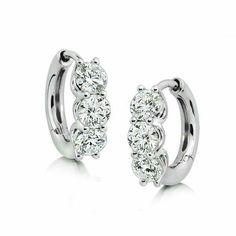 Ikuma Canadian diamond huggie hoop earrings, 1 and carat total weight, in white gold. Diamond Hoop Earrings, Diamond Studs, Diamond Jewelry, Gold Jewelry, Beaded Jewelry, Jewelry Box, Fine Jewelry, Stud Earrings, Jewelry Watches