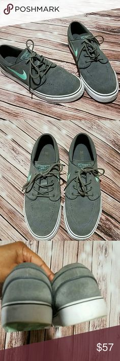 "Nike ""Stefan Janoski"" suede shoes Unisex, gray suede with blue swoosh. Nike skateboarding. Size 10.5. Great pre-loved condition. Nike Shoes Sneakers"