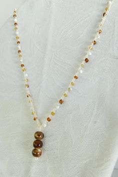 Brown Bead Crochet Necklace Crocheted Beaded by mladycollection, $18.00