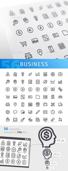 56 Business Line Icons Set. Download here: https://graphicriver.net/item/business-line-icons-set/17497296?ref=ksioks