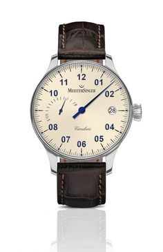 The @MeisterSingerMS Circularis Power Reserve features the brand's newly developed, hand-wound MSH02 movement with an impressive 120-hour power reserve. It comes housed in a 43-mm steel case with an oversized crown and long, sharp lugs and is shown here with ivory dial. More @ http://www.watchtime.com/wristwatch-industry-news/watches/one-hand-120-hours-introducing-the-meistersinger-circularis-power-reserve/ #meistersinger #watchtime #germanwatches #Baselworld2017