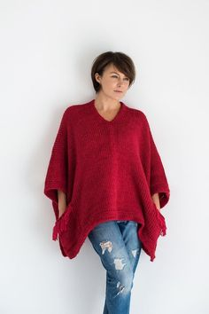 Chunky knit poncho sweater with pockets for women handmade from alpaca wool