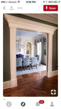 Living room entry Dining Room Blue, Formal Dining Rooms, Classic Dining Room, Kitchen Dinning, Pocket Doors, Double Pocket Door, Double Doors, Wood Trim, Door Moulding