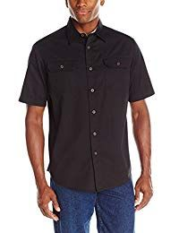 Wrangler Authentics Men's Short-Sleeve Classic Woven Shirt, Caviar, Large Button-front shirt with short sleeves featuring spread collar and dual button-flap chest pockets Twill Shirt, Short Sleeve Button Up, Short Sleeves, Denim Jacket Men, Work Shirts, Men's Shirts, Versace Men, Long Sleeve Shirt Dress, Shorts With Pockets