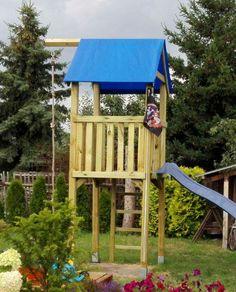#Spielturm Alto aus Holz mit #Wellenrutsche (Farbe wählbar) und #Knotenseil