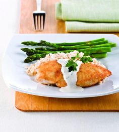 Parmesan-Crusted Chicken in Cream Sauce | KitchenDaily.com