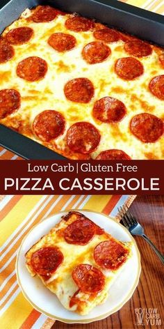 A delicious keto low carb pizza casserole that will be enjoyed by all. And, the easy to make gluten free crust is made with every day ingredients. | LowCarbYum.com via @lowcarbyum