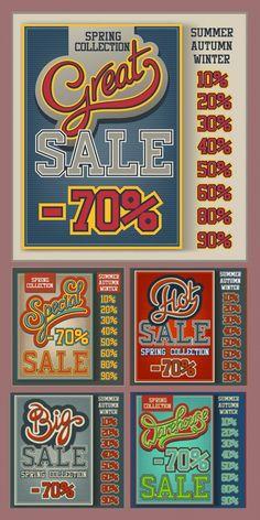 デザインの参考に!レトロなセール用ポスターテンプレート5個(商用可・EPS) - Free-Style