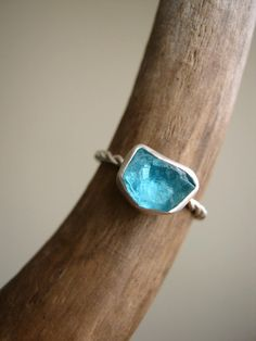 Rough Raw Apatite Ring Sterling Silver handmade by metalmorphoz