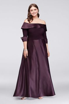 Lustrous satin gleams on this classic mother of the bride plus-size ball gown. The off-the-shoulder neckline, jewel-accented 3/4-sleeves and a ruched waistband flatter the figure.   By Jessica Howard