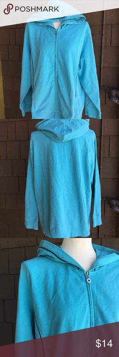 "Style & Co Turquoise Hoodie Cute, comfy and like brand new. Perfect for fall or later piece. French terry feel, quality fabric. Roomy, relaxed fit. Flattering black accent detail. Pockets! 26"" p2p. 28"" long. Style & Co Jackets & Coats"