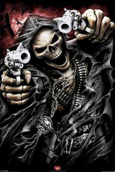 .gunslinger skeleton with guns in boney hands