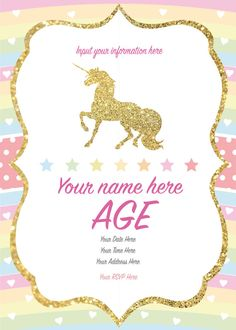 Unicorn Invitation, Printable, Customized, DIY invitation, Girls Unicorn Party, Birthday, editable pdf This is a high resolution printable PDF file. This is a digital item only (no shipping of physical items). This file will be sent straight to your email upon completion of