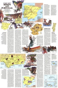 Map Of Spain, Spain And Portugal, National Geographic Maps, Iberian Peninsula, Travel Maps, New Crafts, Handicraft, Spanish, Europe