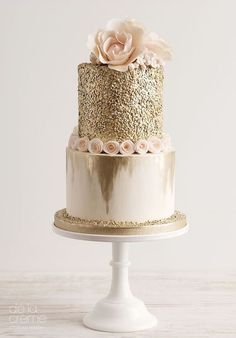 peach glitter wedding cake ideas #weddingcakes