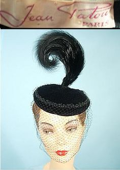 c. 1952  JEAN PATOU, Paris  Black Velvet Hat with Tall Feather Plume